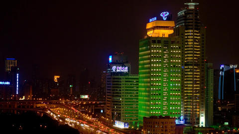Shanghai City Night View with heavy traffic Stock Video Footage