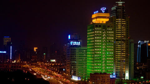 Shanghai City Night View with heavy traffic Footage