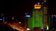 Shanghai City Night View With Heavy Traffic stock footage