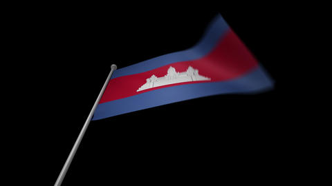 Cambodia Flag Stock Video Footage