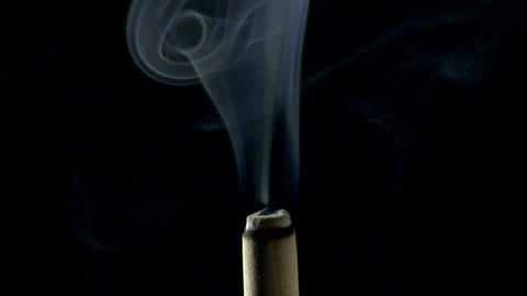 Incense Stick Smoke Close-up Footage