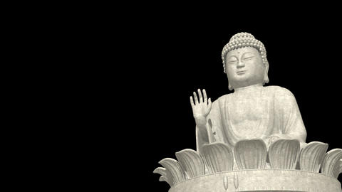 Low Angle Buddha on lotus wheel Stock Video Footage