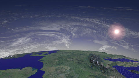 Flight over Europe, Sun and Clouds Animation