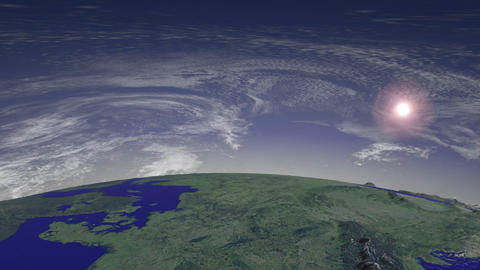Flight over Europe, Sun and Clouds Stock Video Footage