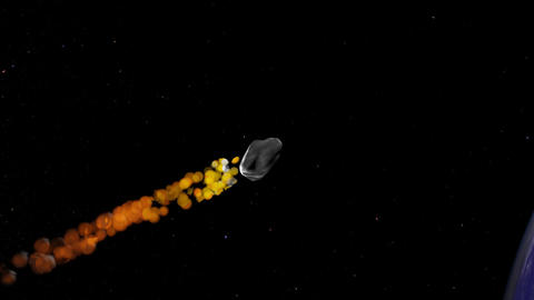Asteroid enters atmosphere Animation