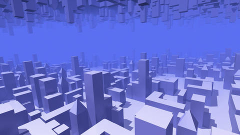 City Flight Mirrored. Loop Stock Video Footage