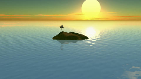 Island Sunset Timelapse CG Stock Video Footage