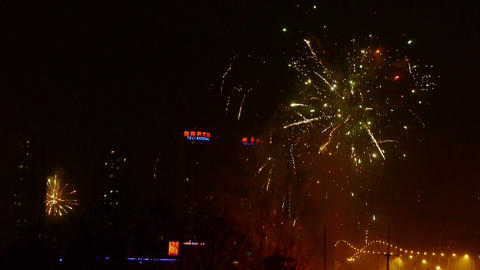 Fireworks over city building at... Stock Video Footage