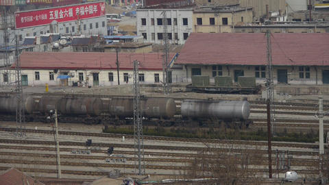 Long tank train traveling on railway in china,After... Stock Video Footage