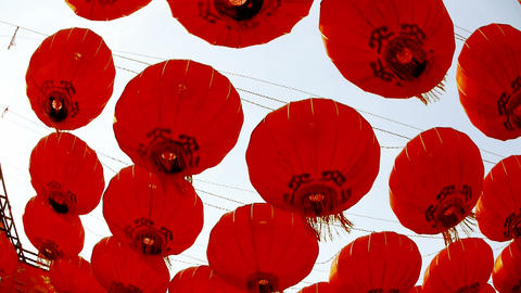 Red lanterns tassel swaying in wind,elements of East,china new year Footage