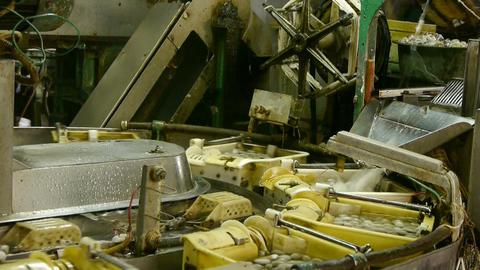 Silkworm cocoon at silk factory.Workers reeling at workshop Stock Video Footage