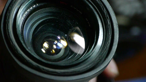 Manually adjust camera lens Stock Video Footage