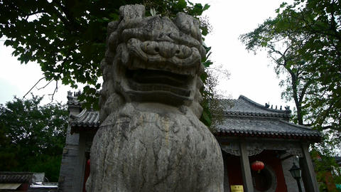 stone lions at temple entrance,historical... Stock Video Footage