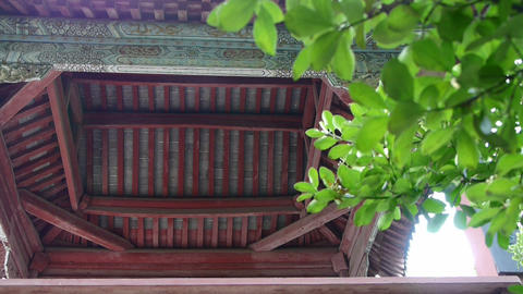 Chinese ancient building eaves,Roof tiles & tree leaves Stock Video Footage