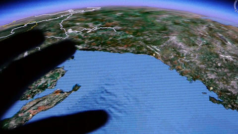 touch globe gps map on ipad Stock Video Footage