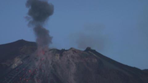 Stromboli eruption 02 Stock Video Footage