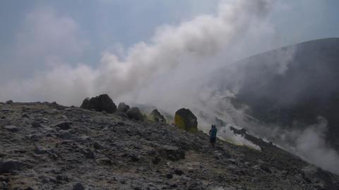 volcano tourist 02 Stock Video Footage