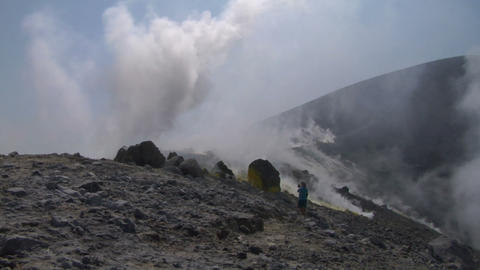 volcano tourist 02 Stock Video Footage