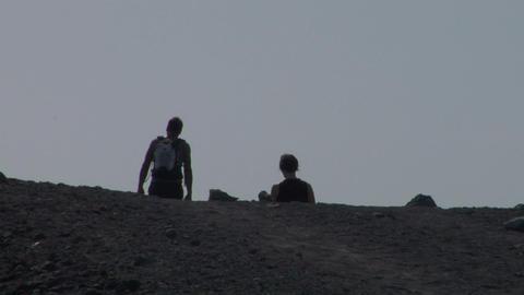 volcano tourist 08 Stock Video Footage