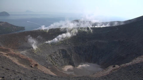 Vulcano crater 04 Stock Video Footage