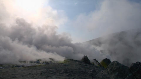 Vulcano fumarole 01 Stock Video Footage
