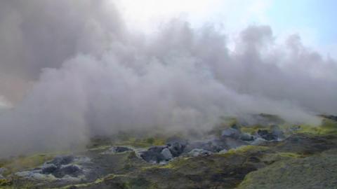 Vulcano fumarole 05 Stock Video Footage