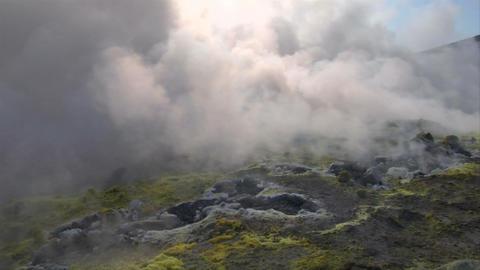 Vulcano fumarole 07 Stock Video Footage