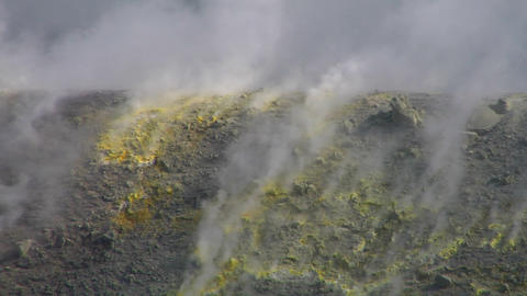 Vulcano fumarole 13 Stock Video Footage