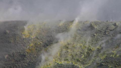 Vulcano fumarole 13 Stock Video Footage