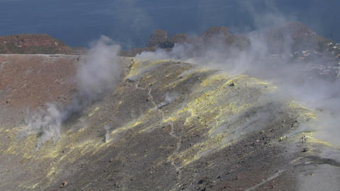 Vulcano fumarole 15 Stock Video Footage