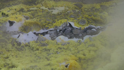 Vulcano fumarole close up 03 Stock Video Footage