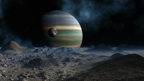 Huge planet and moon Stock Video Footage