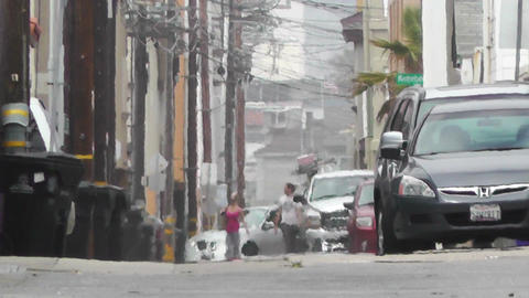 Backstreet Alley 05 electric poles heat mirage Stock Video Footage