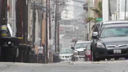 Backstreet Alley 05 electric poles heat mirage Footage