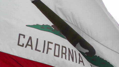 California flag in strong wind 60 fps native slowmotion 01 Footage