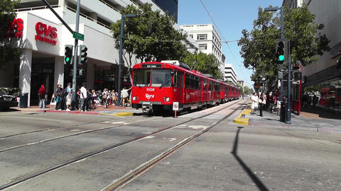 San Diego Downtown 05 tram trolley Stock Video Footage