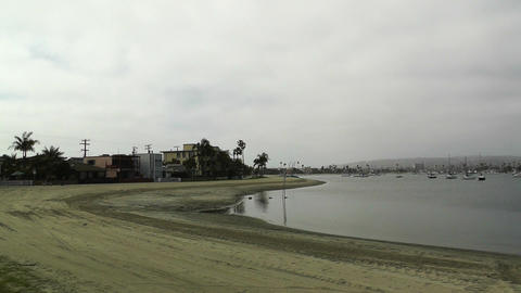San Diego Mission Bay 02 pan right Stock Video Footage
