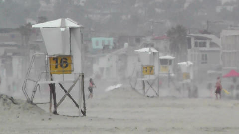 San Diego Mission Bay Beach 03 lifeguard stations heat... Stock Video Footage