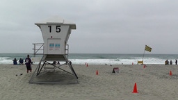 San Diego Mission Bay Beach 07 lifeguard station Stock Video Footage