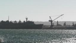 San Diego US Naval Base battleship 02 handheld Stock Video Footage