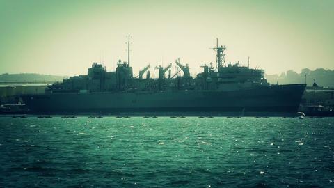 San Diego US Naval Base battleship 04 stylized Stock Video Footage