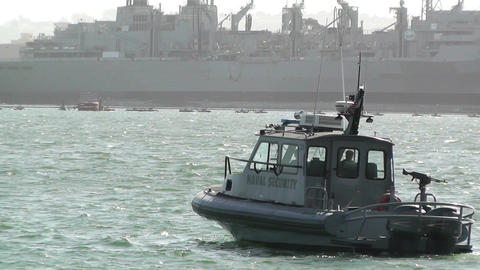 San Diego US Naval Base Security Guard Boat 02 Stock Video Footage