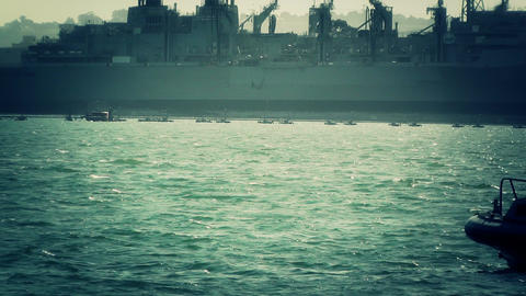 San Diego US Naval Base Security Guard Boat 04 stylized Stock Video Footage