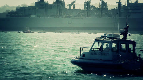 San Diego US Naval Base Security Guard Boat 04 stylized Footage