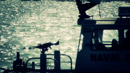 San Diego US Naval Base Security Guard Boat 06 stylized Stock Video Footage