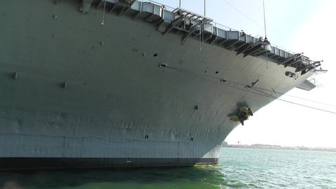 San Diego US Naval Base USS Midway Carrier 10 front Stock Video Footage