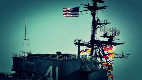 San Diego US Naval Base USS Midway Carrier 18 stylized Stock Video Footage