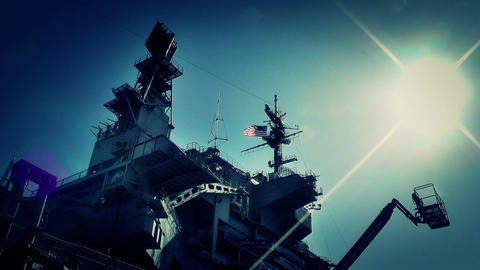 San Diego US Naval Base USS Midway Carrier 20 stylized Stock Video Footage