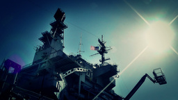 San Diego US Naval Base USS Midway Carrier 20 stylized Footage