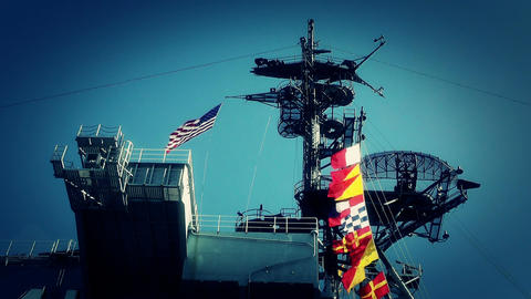 San Diego US Naval Base USS Midway Carrier 22 stylized Stock Video Footage